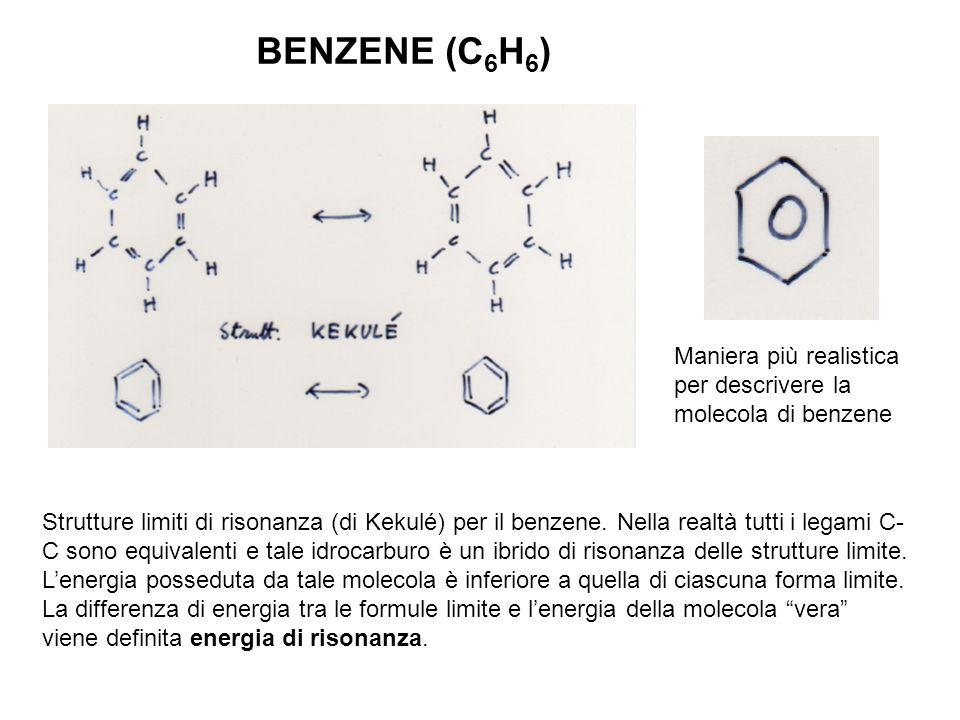 BENZENE (C6H6) Maniera più realistica per descrivere la molecola di benzene.