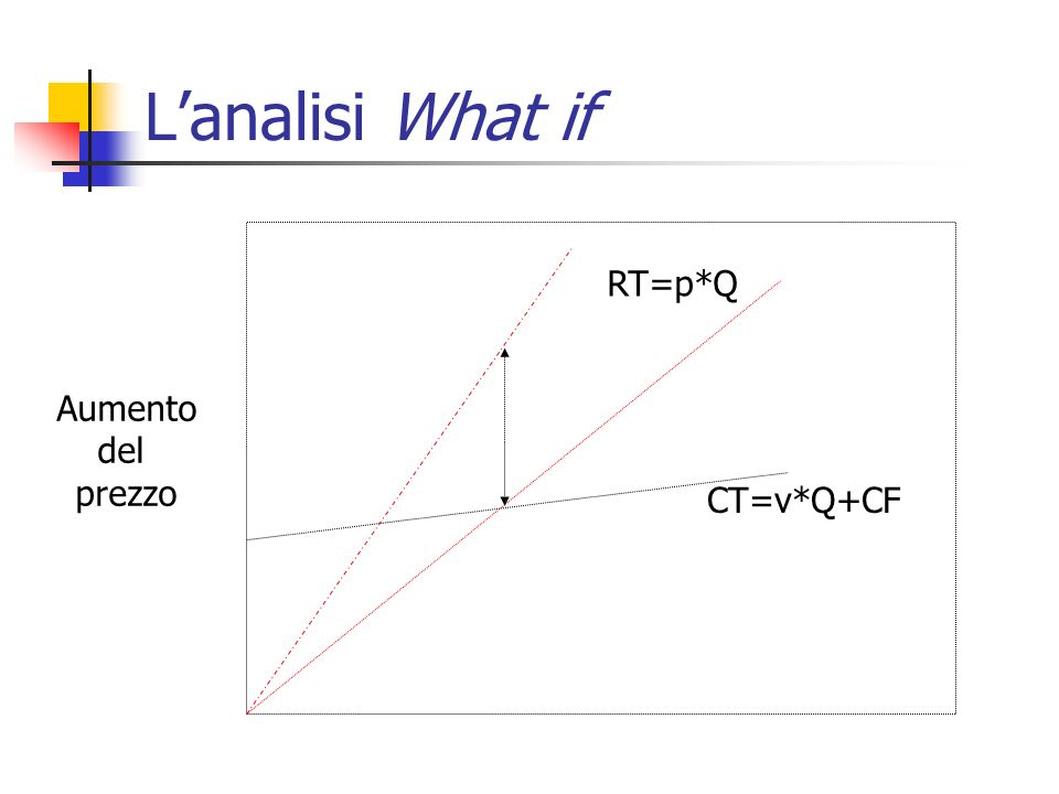 L'analisi What if RT=p*Q Aumento del prezzo CT=v*Q+CF