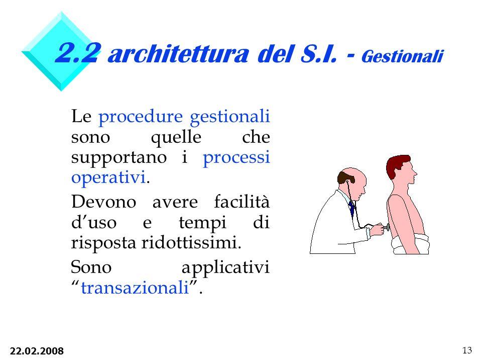 2.2 architettura del S.I. - Gestionali