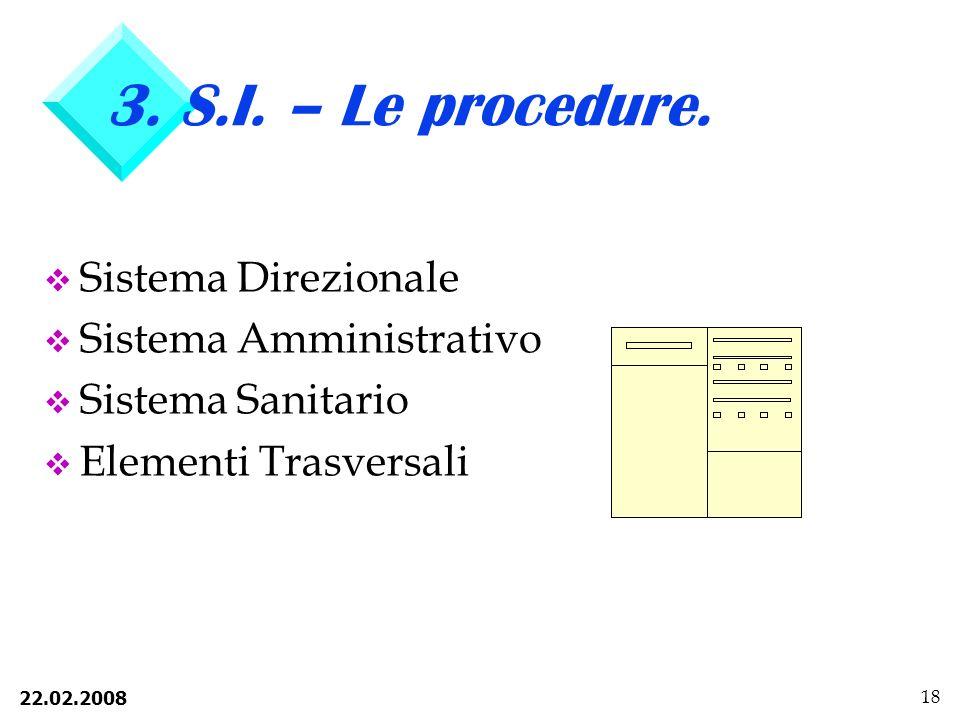 3. S.I. – Le procedure. Sistema Direzionale Sistema Amministrativo