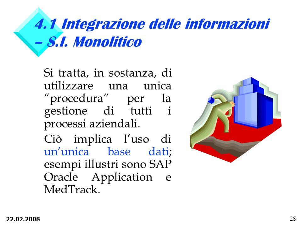4.1 Integrazione delle informazioni – S.I. Monolitico