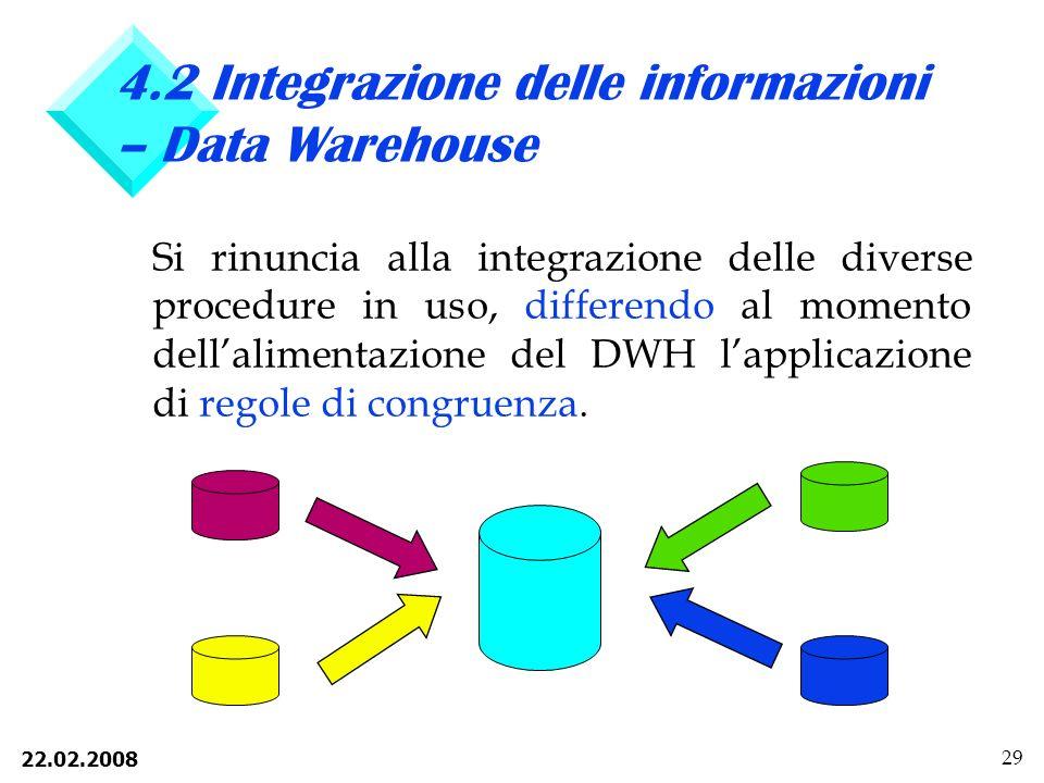 4.2 Integrazione delle informazioni – Data Warehouse