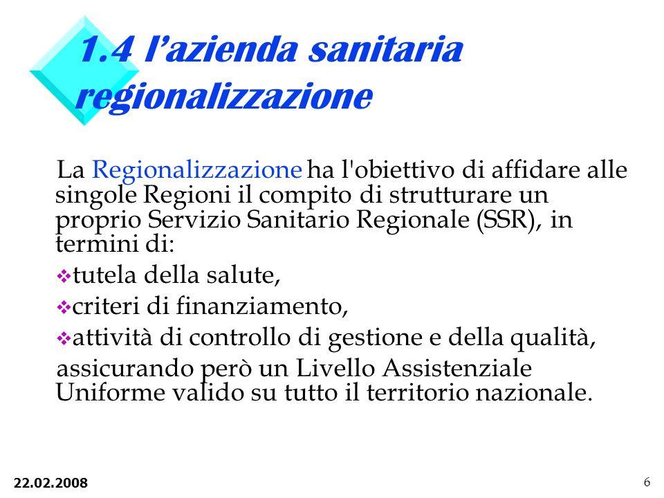 1.4 l'azienda sanitaria regionalizzazione