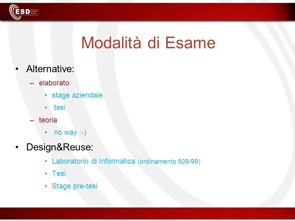 Modalità di Esame Alternative: Design&Reuse: elaborato stage aziendale
