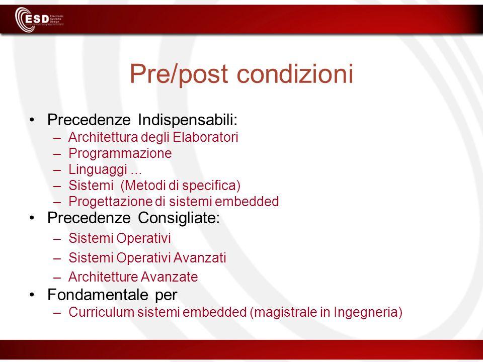 Pre/post condizioni Precedenze Indispensabili: Precedenze Consigliate: