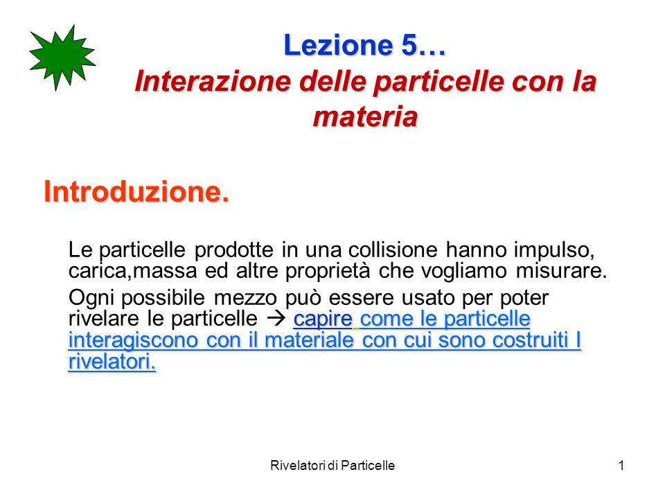 Lezione 5… Interazione delle particelle con la materia