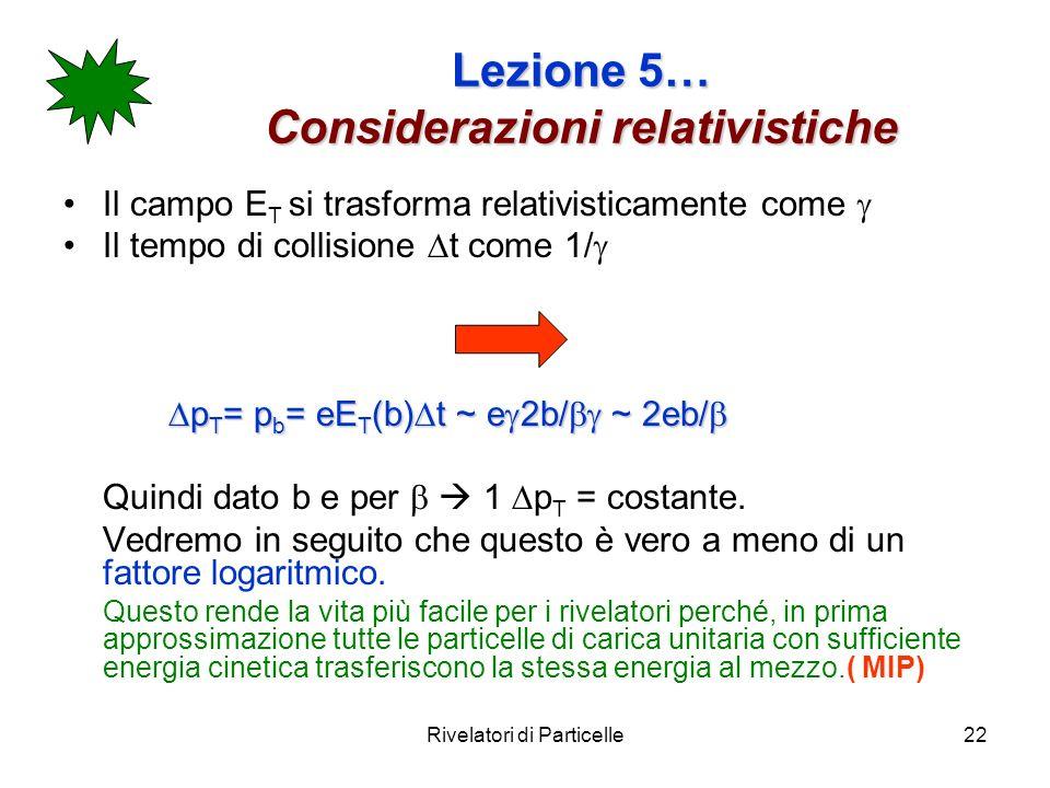 Lezione 5… Considerazioni relativistiche