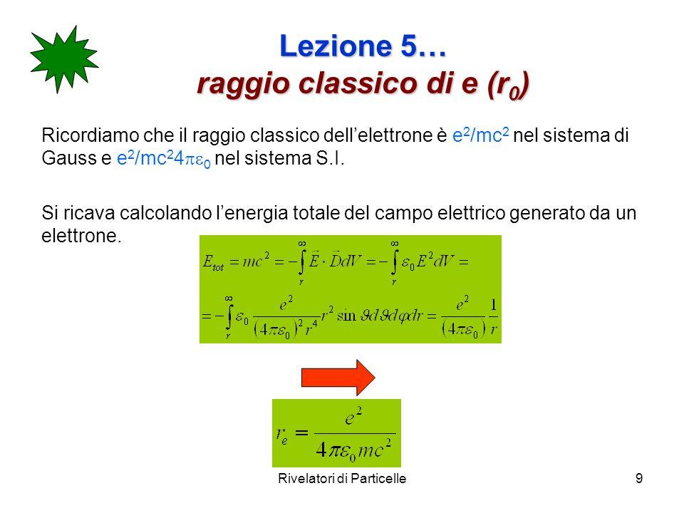 Lezione 5… raggio classico di e (r0)