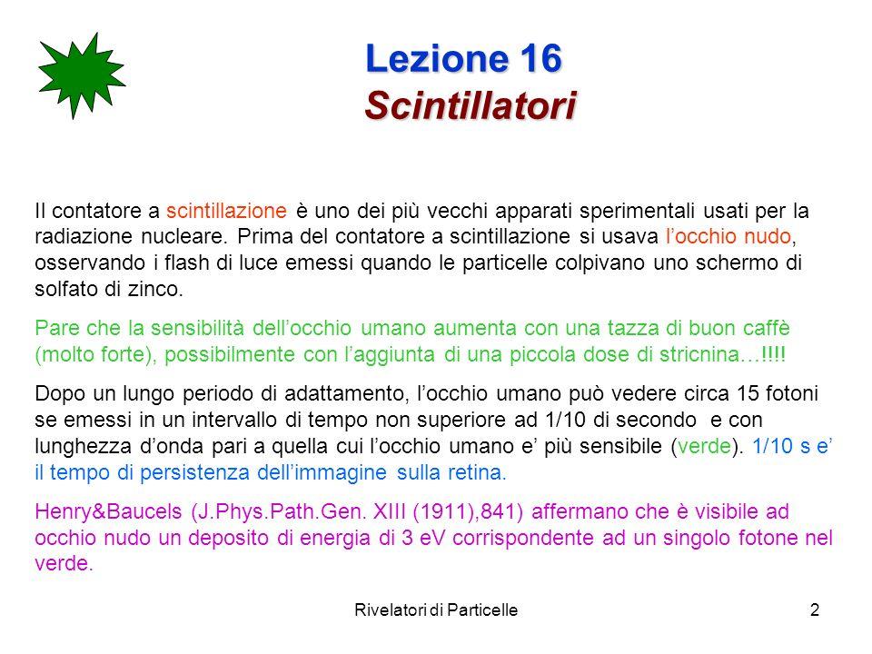Lezione 16 Scintillatori