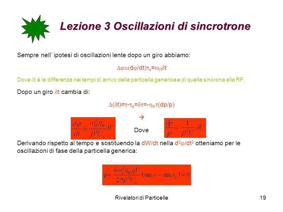 Lezione 3 Oscillazioni di sincrotrone