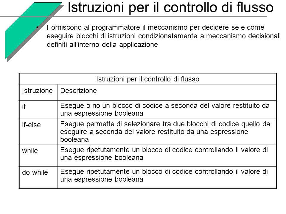 Istruzioni per il controllo di flusso
