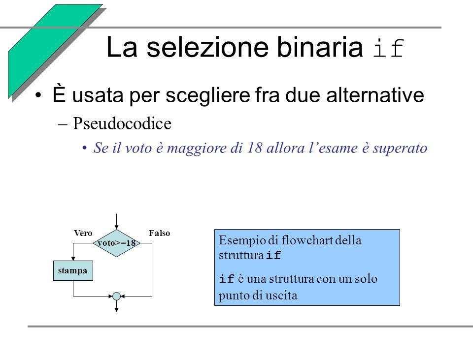 La selezione binaria if