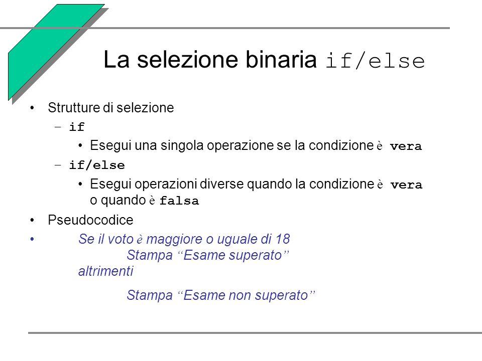 La selezione binaria if/else