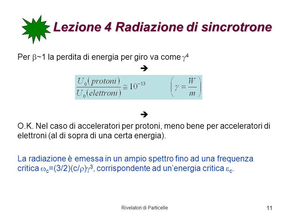 Lezione 4 Radiazione di sincrotrone