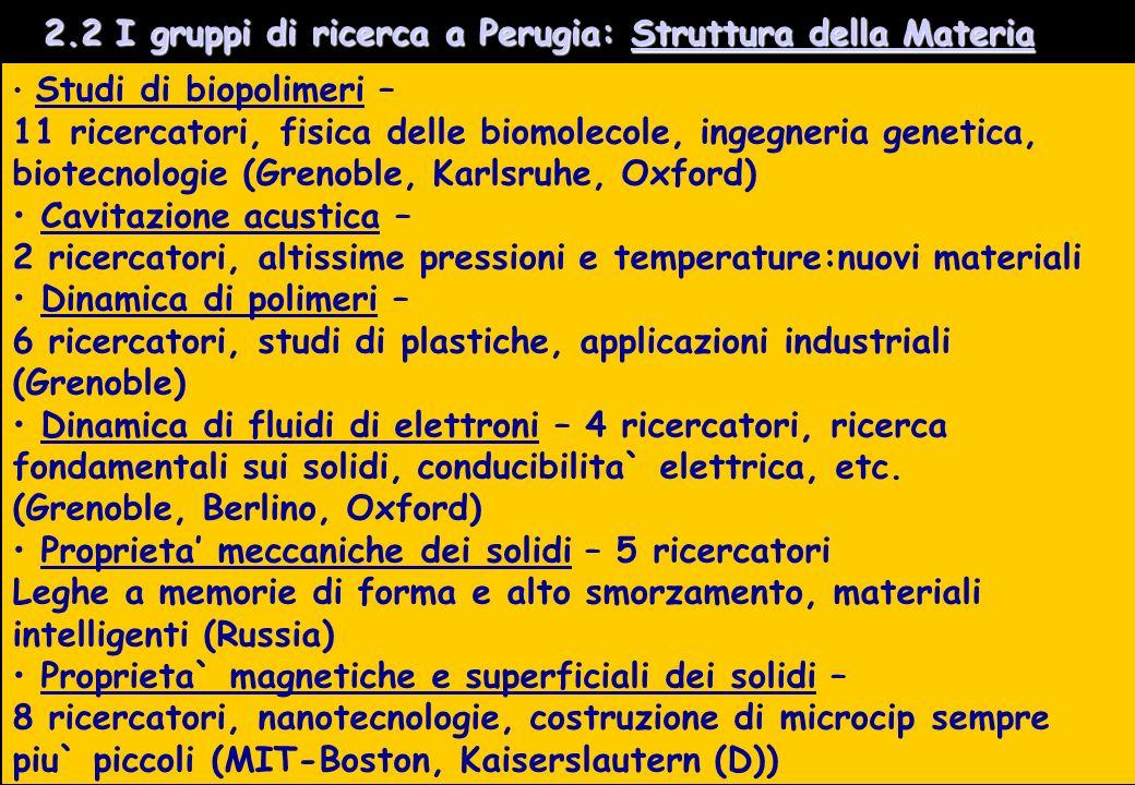 2.2 I gruppi di ricerca a Perugia: Struttura della Materia