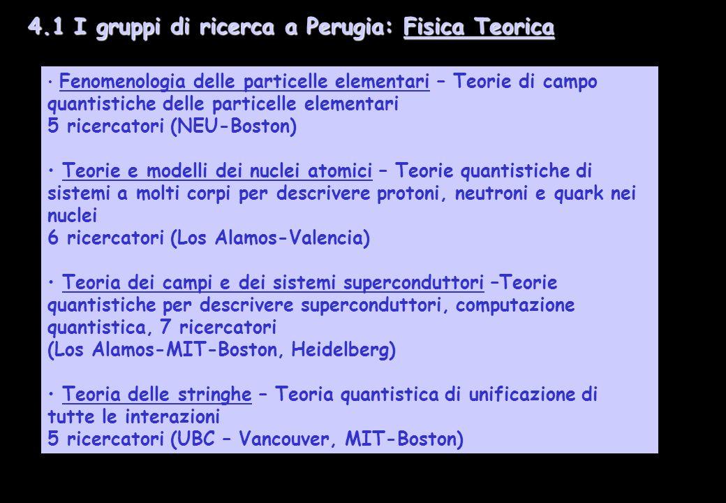 4.1 I gruppi di ricerca a Perugia: Fisica Teorica