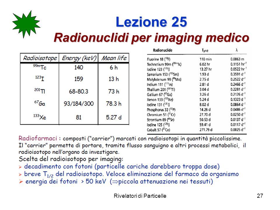 Lezione 25 Radionuclidi per imaging medico