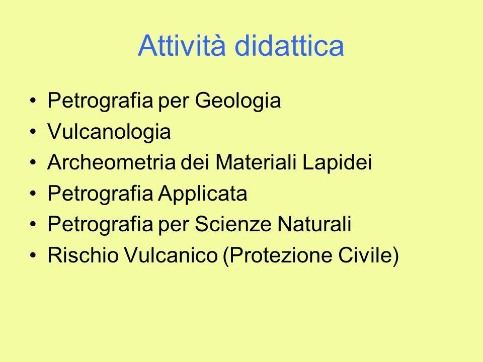 Attività didattica Petrografia per Geologia Vulcanologia