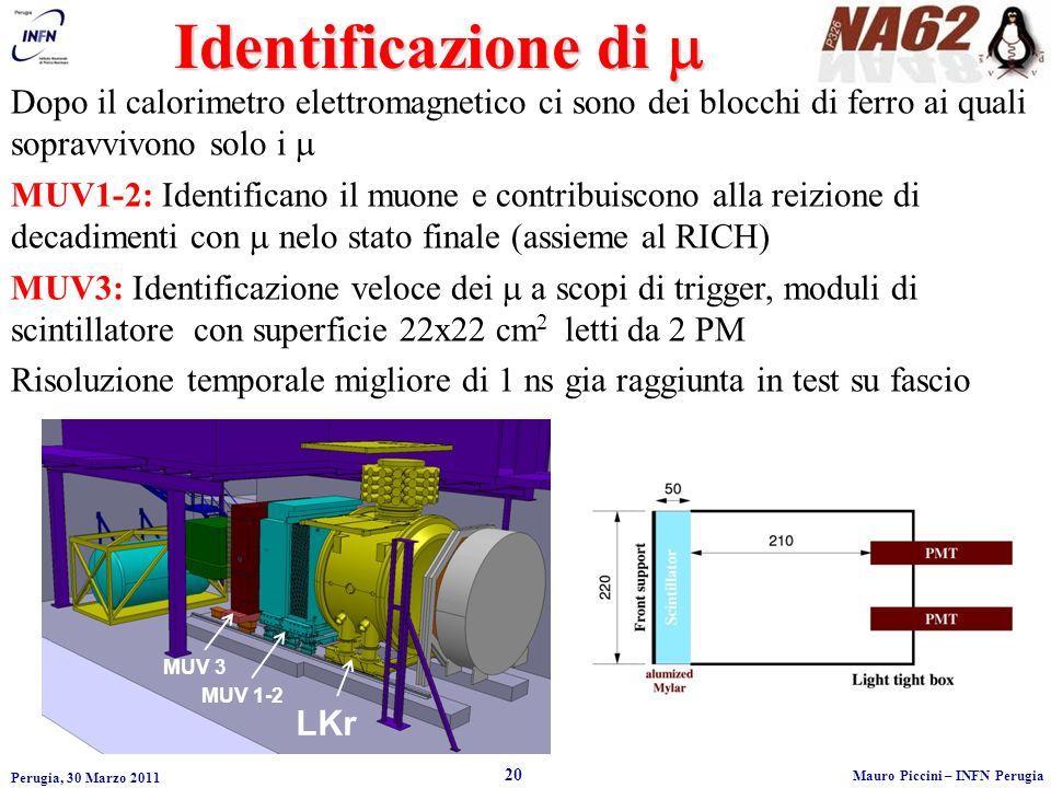 Identificazione di m Dopo il calorimetro elettromagnetico ci sono dei blocchi di ferro ai quali sopravvivono solo i m.