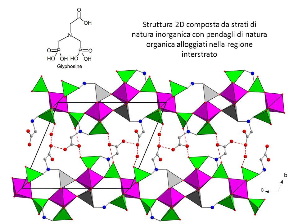 Struttura 2D composta da strati di natura inorganica con pendagli di natura organica alloggiati nella regione interstrato