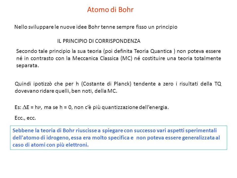 Atomo di Bohr Nello sviluppare le nuove idee Bohr tenne sempre fisso un principio. IL PRINCIPIO DI CORRISPONDENZA.