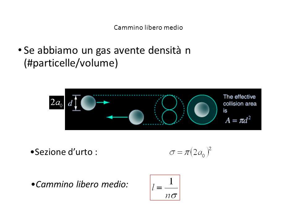 Se abbiamo un gas avente densità n (#particelle/volume)