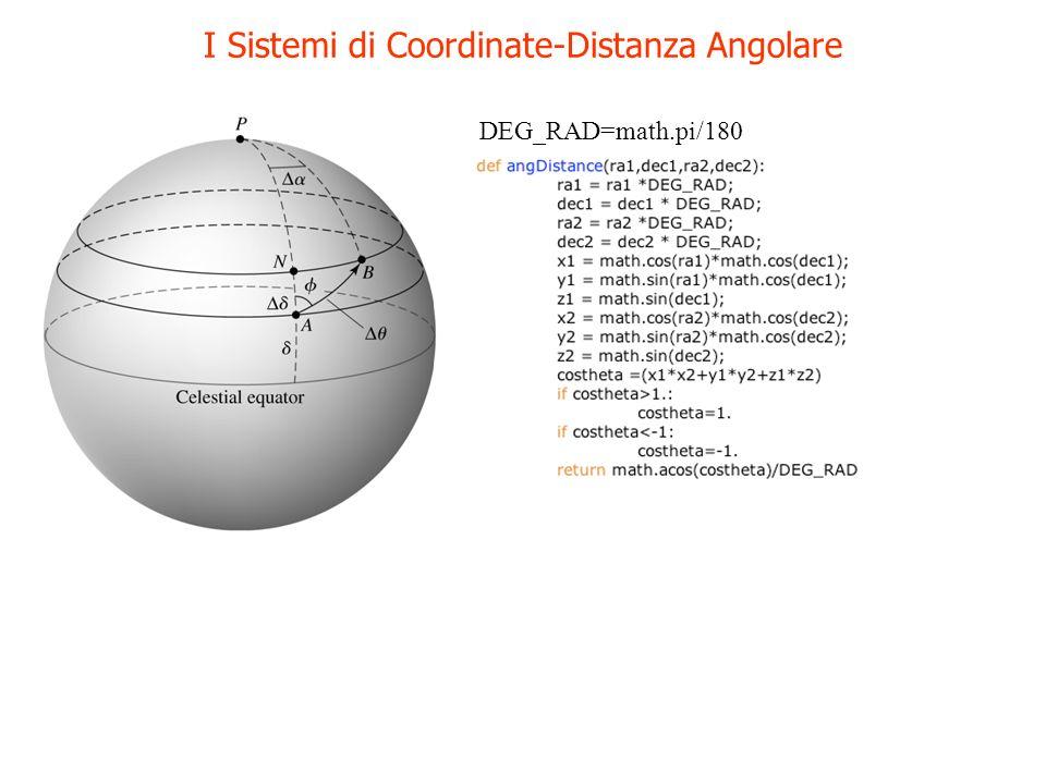 I Sistemi di Coordinate-Distanza Angolare