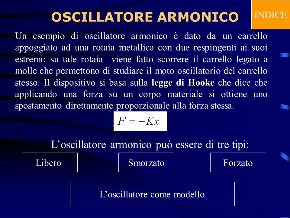 OSCILLATORE ARMONICO L'oscillatore armonico può essere di tre tipi: