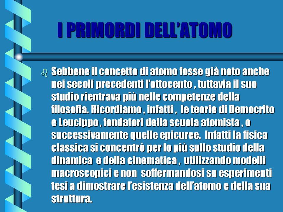 I PRIMORDI DELL'ATOMO