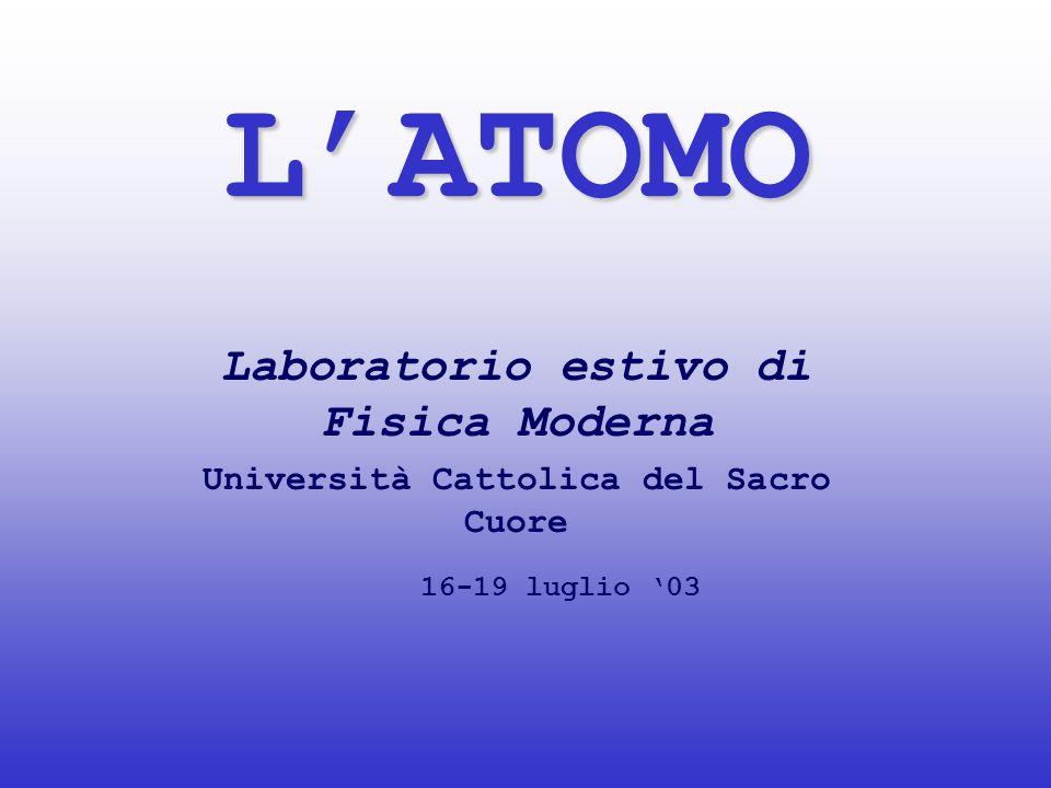 L'ATOMO Laboratorio estivo di Fisica Moderna 16-19 luglio '03