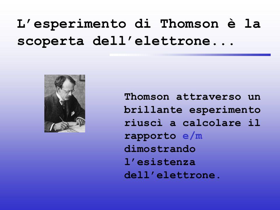 L'esperimento di Thomson è la scoperta dell'elettrone...