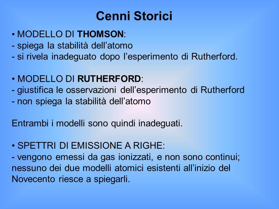 Cenni Storici MODELLO DI THOMSON: - spiega la stabilità dell'atomo