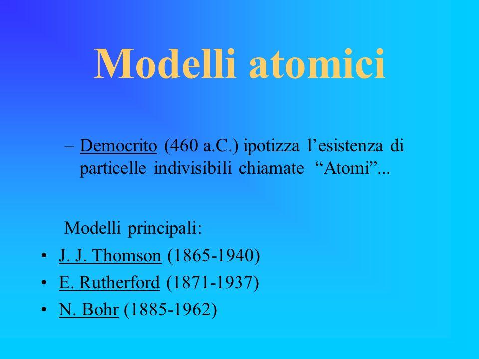 Modelli atomici Modelli principali: