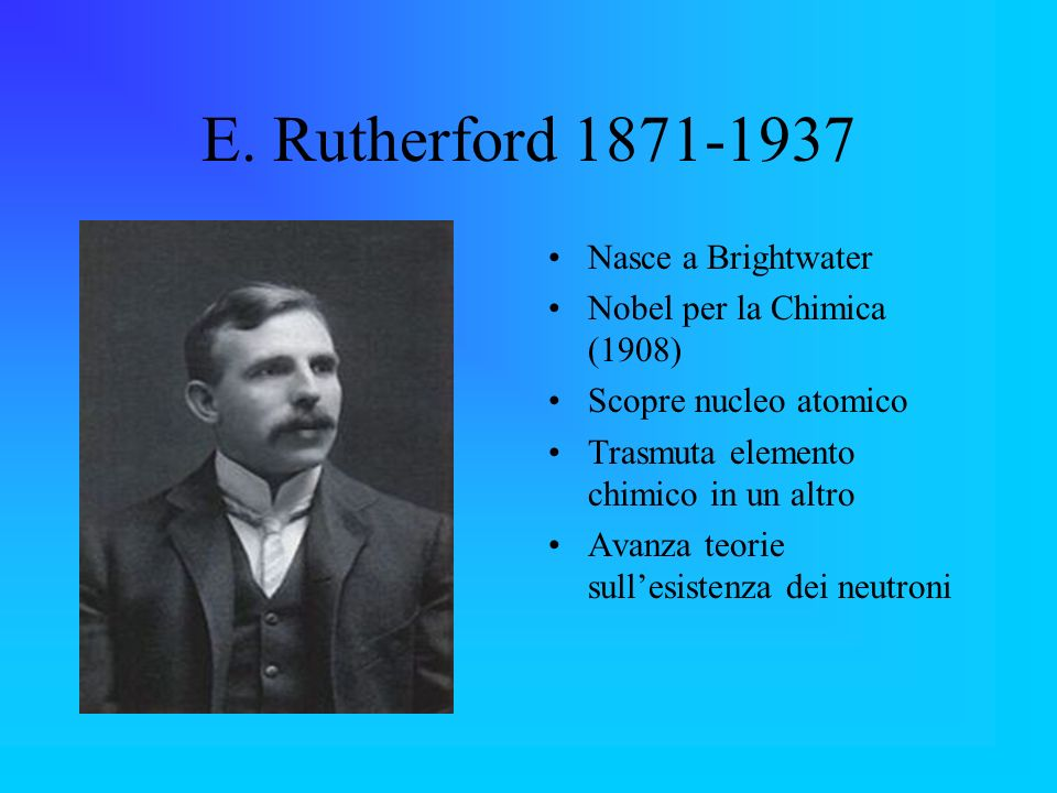 E. Rutherford 1871-1937 Nasce a Brightwater