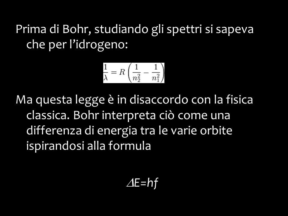 Prima di Bohr, studiando gli spettri si sapeva che per l'idrogeno: