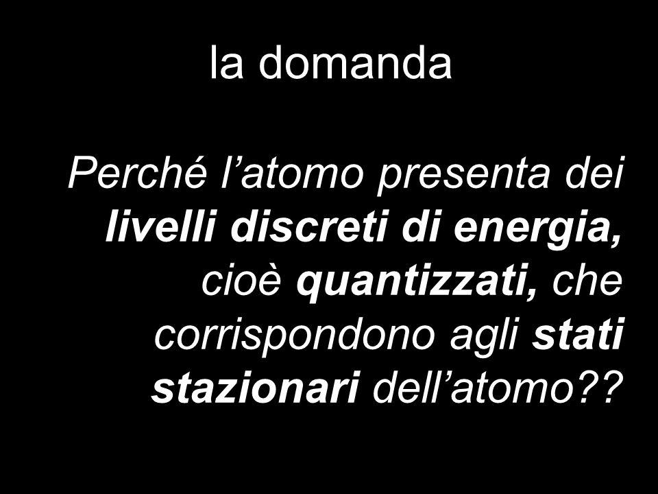la domanda Perché l'atomo presenta dei livelli discreti di energia, cioè quantizzati, che corrispondono agli stati stazionari dell'atomo