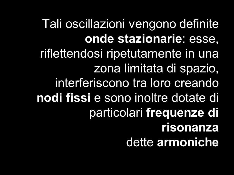 Tali oscillazioni vengono definite onde stazionarie: esse, riflettendosi ripetutamente in una zona limitata di spazio, interferiscono tra loro creando nodi fissi e sono inoltre dotate di particolari frequenze di risonanza dette armoniche