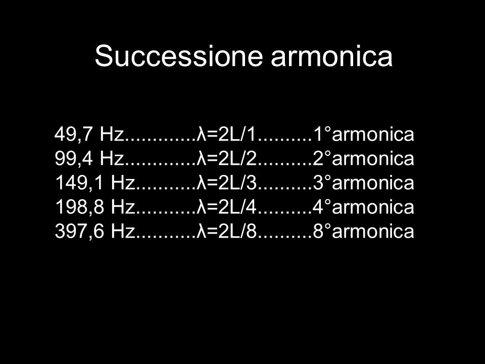 Successione armonica 49,7 Hz.............λ=2L/1..........1°armonica