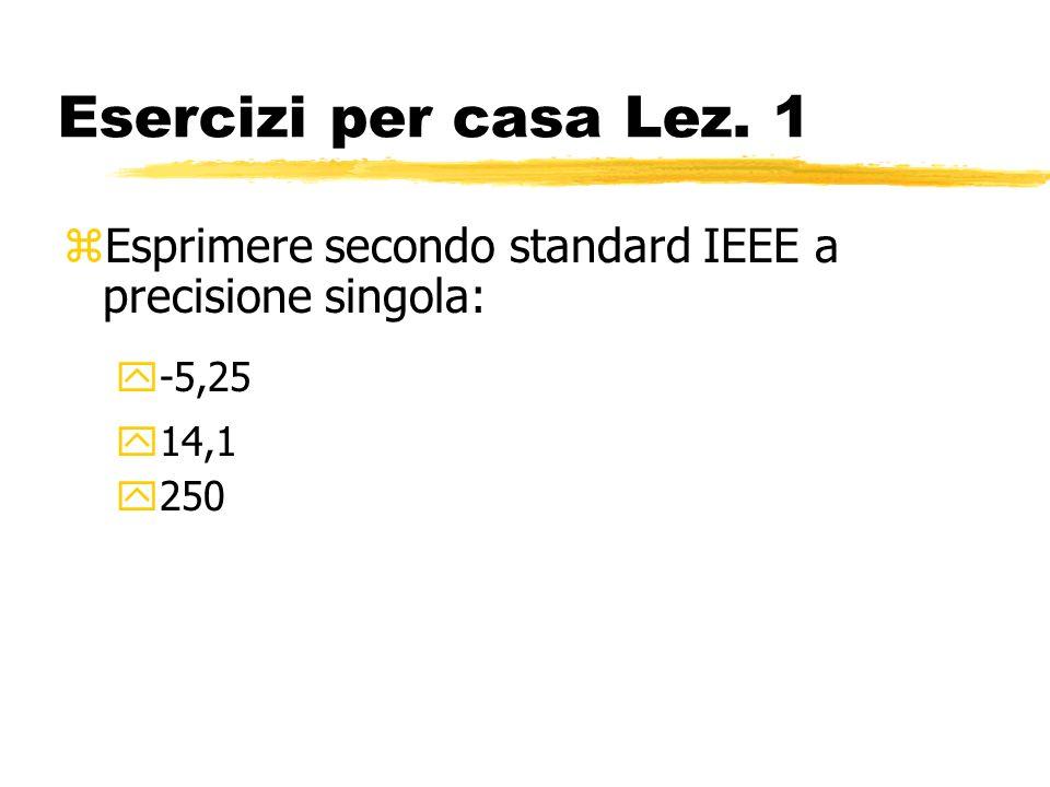Esercizi per casa Lez. 1 Esprimere secondo standard IEEE a precisione singola: -5,25 14,1 250