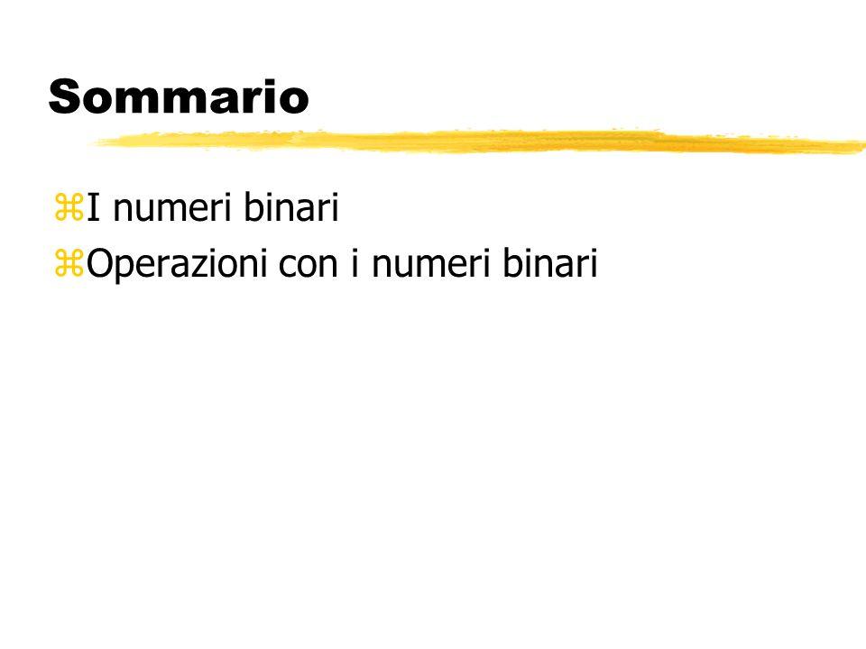Sommario I numeri binari Operazioni con i numeri binari