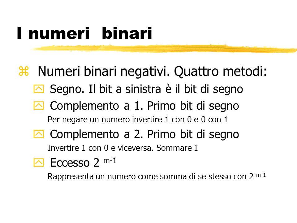 I numeri binari Numeri binari negativi. Quattro metodi:
