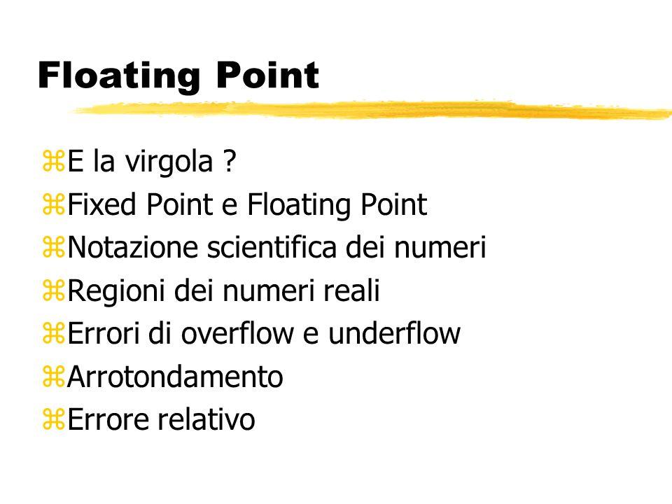 Floating Point E la virgola Fixed Point e Floating Point