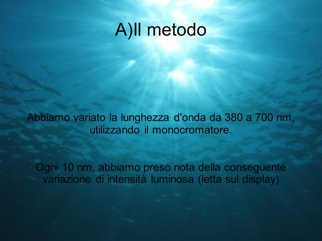 A)Il metodo Abbiamo variato la lunghezza d onda da 380 a 700 nm, utilizzando il monocromatore.