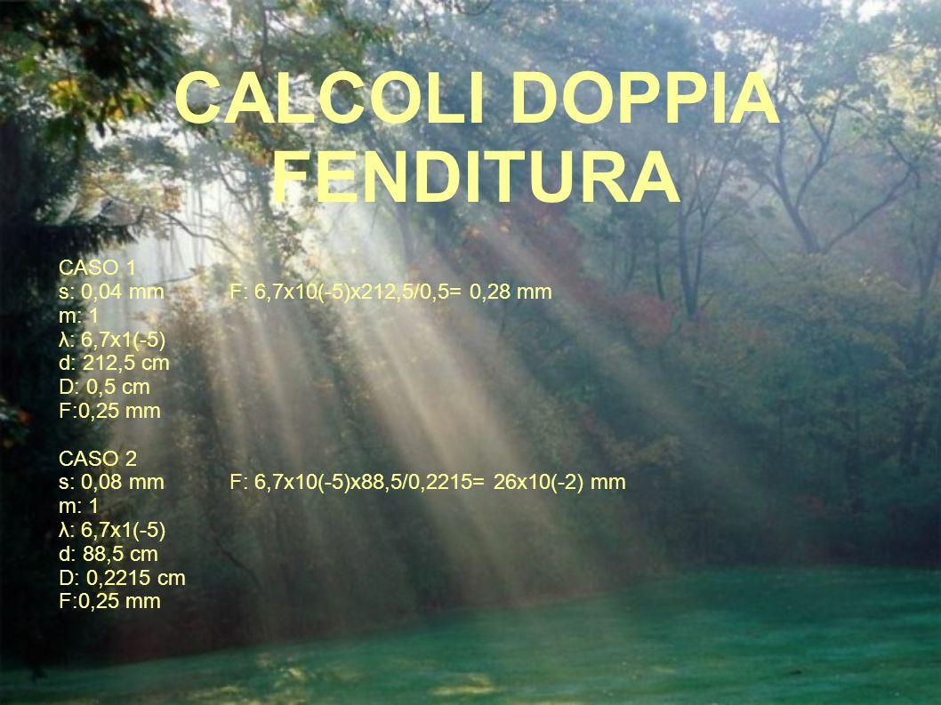 CALCOLI DOPPIA FENDITURA
