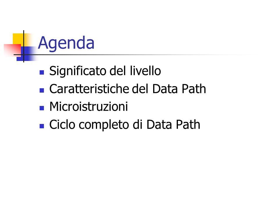 Agenda Significato del livello Caratteristiche del Data Path