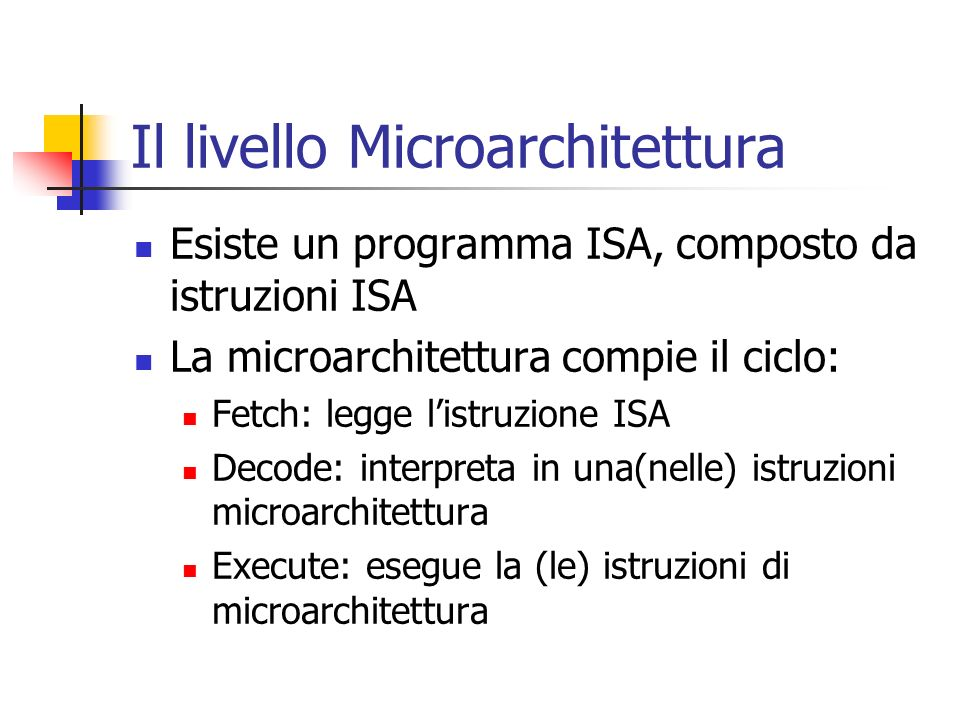 Il livello Microarchitettura