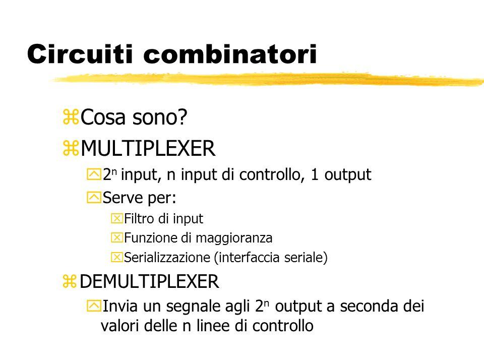 Circuiti combinatori Cosa sono MULTIPLEXER DEMULTIPLEXER