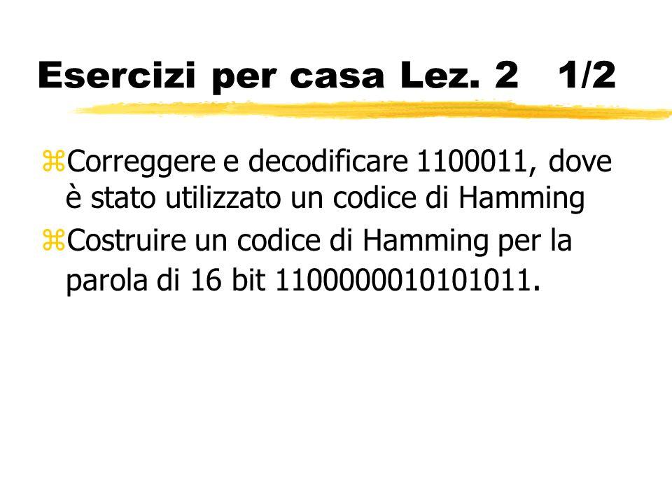 Esercizi per casa Lez. 2 1/2 Correggere e decodificare 1100011, dove è stato utilizzato un codice di Hamming.