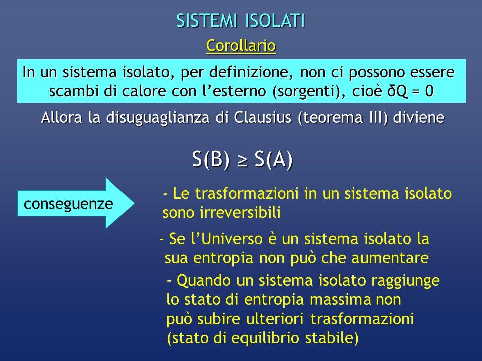 S(B) ≥ S(A) SISTEMI ISOLATI Corollario
