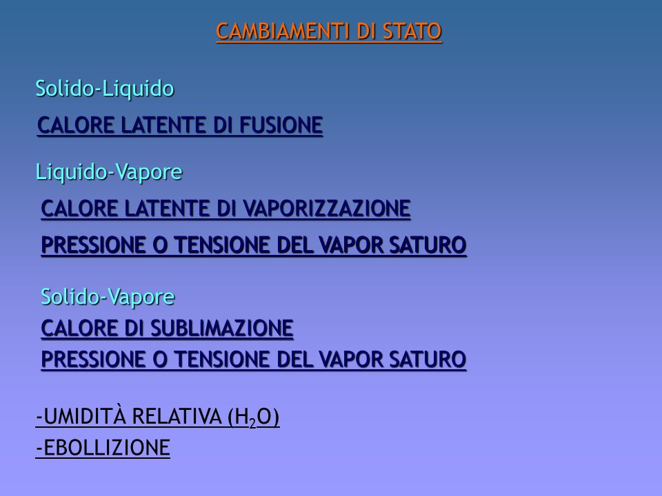 CAMBIAMENTI DI STATO Solido-Liquido. CALORE LATENTE DI FUSIONE. Liquido-Vapore. CALORE LATENTE DI VAPORIZZAZIONE.
